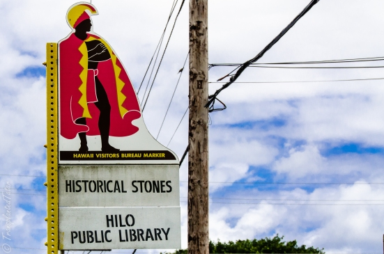 Sacred stones by the Hilo Public Library