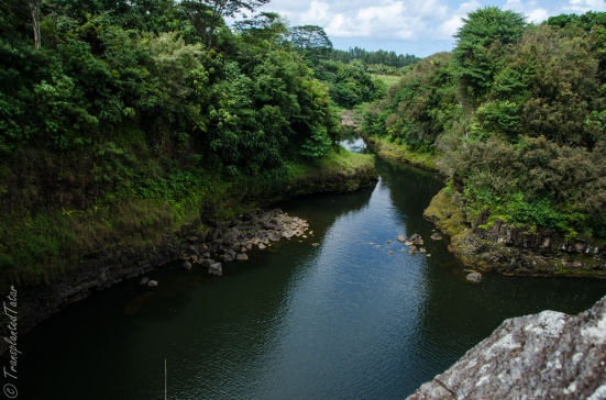 Wailuku river flowing to Rainbow Falls, Hilo, Hawaii