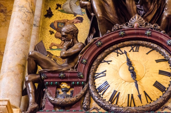 Readers, detail of John Flanagan's clock, Main Reading Room, Jefferson Building, Library of Congress