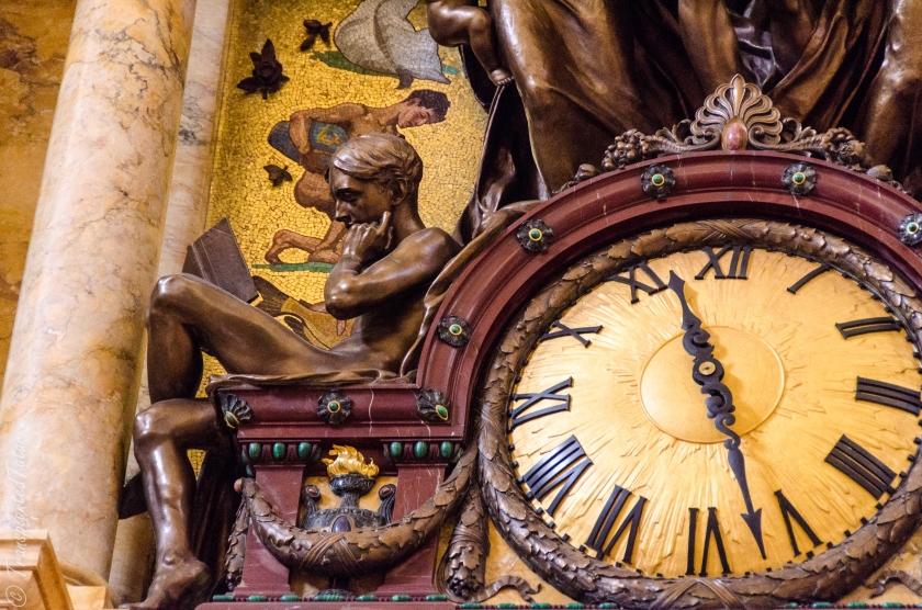 Readers, detail of John Flanagan's clock, Main Reading Room, Jefferson Building, Library of Congress