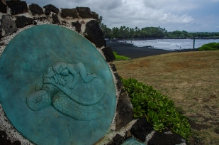 Plaque at the entrance to the Punalu'u Black Sand Beach, Hawaii