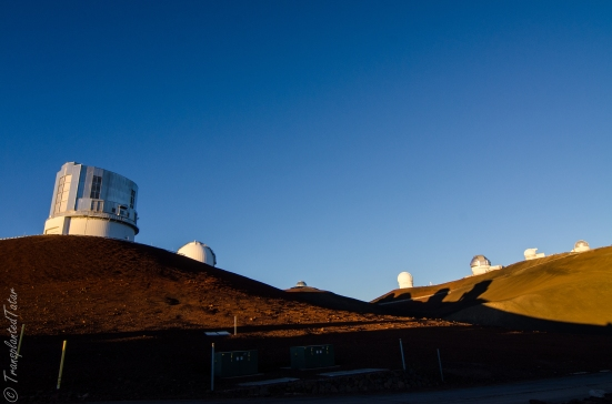 Seven of thirteen observatories on the Mauna Kea summit, Hawaii