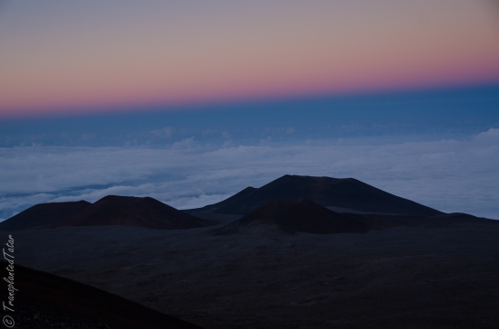 Cinder cones of Mauna Kea summit at sunset, Hawaii