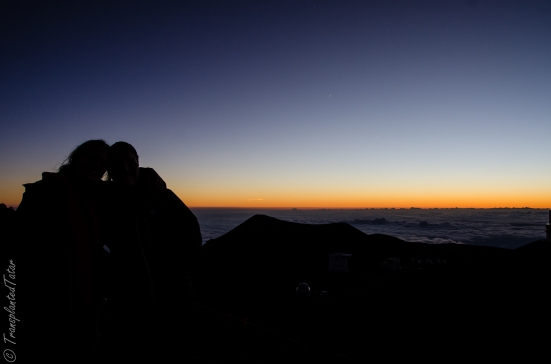 We are watching sunset on Mauna Kea summit, Hawaii