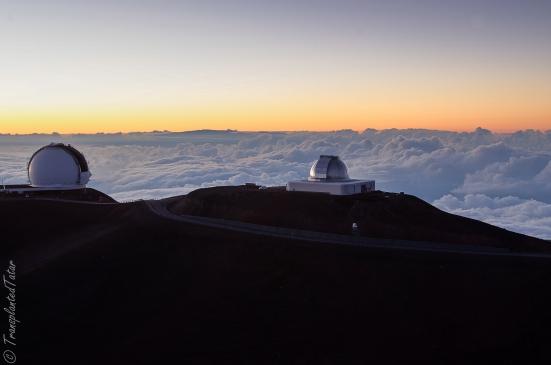 Two of the thirteen telescopes on the Mauna Kea summit, Hawaii