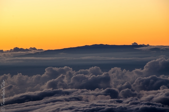 View from Mauna Kea summit, Haleakala volcano tip on Maui