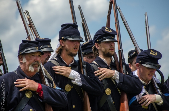 Reenactors marching, 150th Anniversary Gettysburg Battle Reenactment