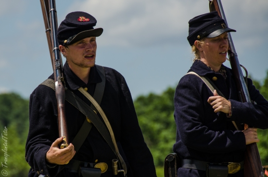 A male and a female reenactors, Faces of the 150th Reenactment of the Battle of Gettysburg