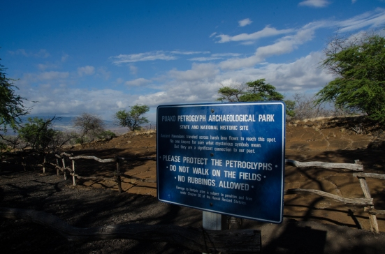 Marker for the Puakō Petroglyph Archeological Preserve, Big Island, Hawaii