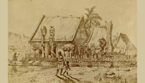 Artwork depicting Ahu'ena Heiau on the island of Hawaii