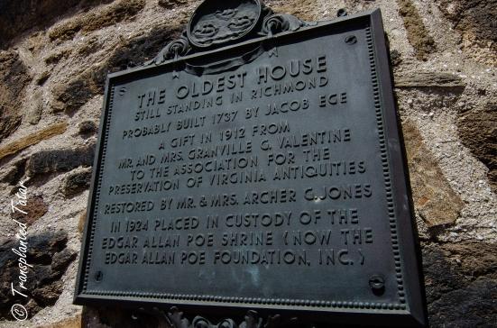 Oldest house in Richmond plaque, Poe Museum, Richmond, VA