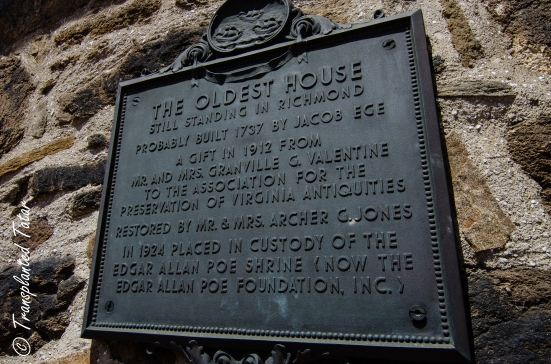 Oldest house in Richmond plaque, Poe Museum, Richmond, VA