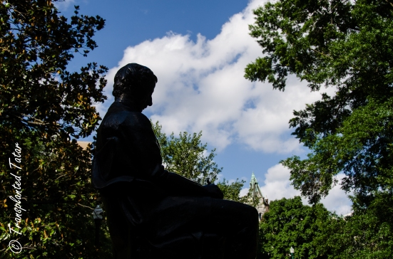 Edgar Allan Poe statue in profile, Virginia Capitol, Richmond