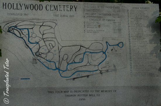 Map of Virginia's Hollywood Cemetery in Richmond