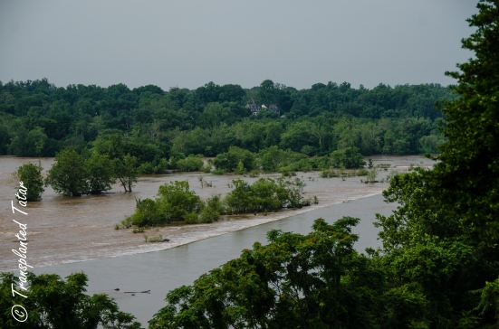 Overflowing James River, view from Hollywood Cemetery, Richmond, Virginia