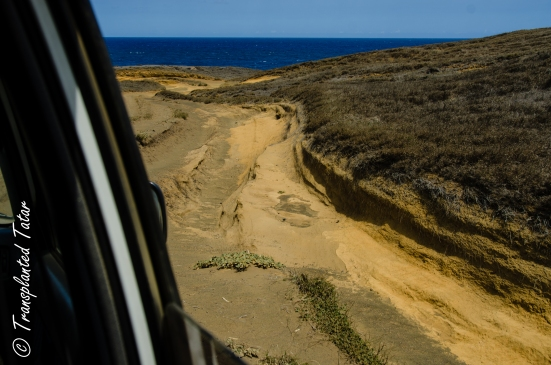 Road to the Green Sand Beach is bumpy