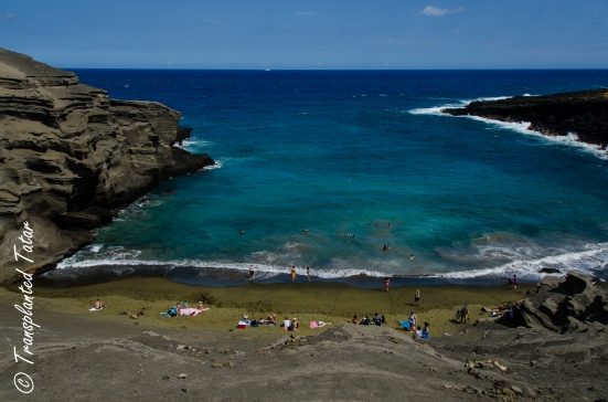 View from above of Hawaii's Green Sand Beach
