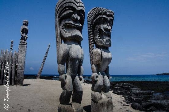 Carved gods in Place of Refuge, Big Island, Hawaii