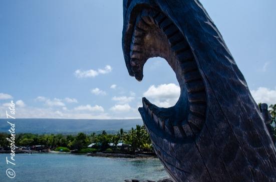 Carved totem, Place of Refuge, Big Island, Hawaii
