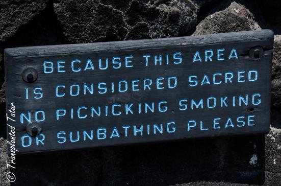 Sacred area signs, Place of Refuge, Big Island, Hawaii