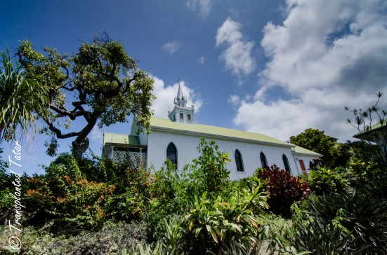 Outside view of Painted Church, Big Island, Hawaii