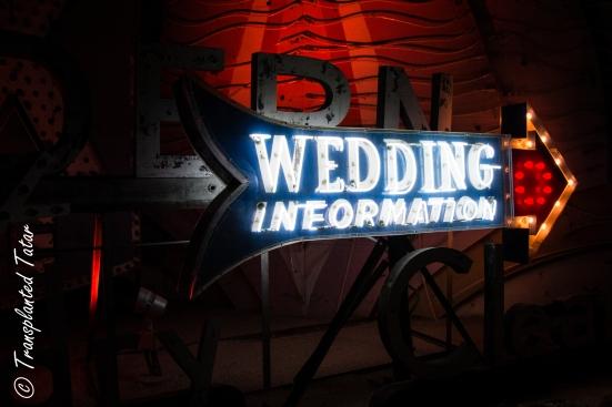 1940s Wedding Information sign in Las Vegas Neon Sign Museum