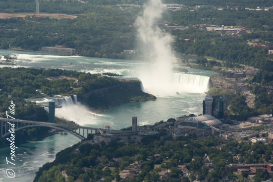 Helicopter view of Niagara Falls, Horseshoe Bend, Canada