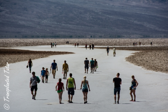People walking on the Badwater Basin salt flats, Death Valley National Park