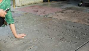 Cement print of Gregory Peck's hands, Grauman Chinese Theatre's Forecourt of Stars, LA