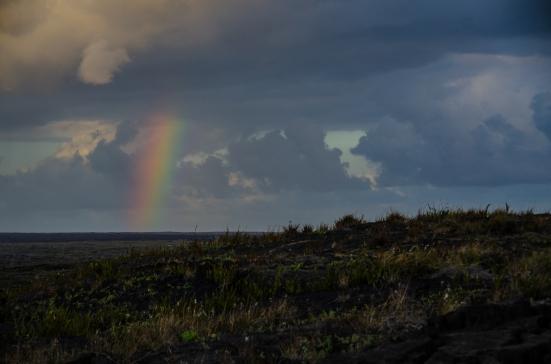 Rainbow over petroglyphs, Hawai'i Volcanoes National Park