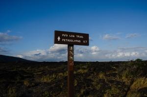 Sign for Pu'u Loa Petroglyphs, Hawai'i Volcanoes National Park
